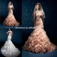 2014 New Peach Color Vestido De Noiva Romantic Stunning Yumi Katsura Long Wedding Dress Bridal Women Gown Free Shipping JWD118