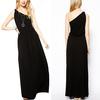 2015 online clothing oblique shoulder pure color maxi dress jersey fabric long dress