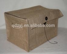 folded jute storage box