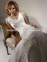 SJ1753 white v-neck appliques beaded satin organza floor length A-Line high quality wedding dress