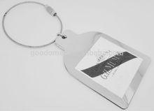 photo frame wire keyrig/champagne keychain/metal steel wire key chain