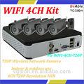 Wifi 4ch p2p kit de la función de infrarrojos a distancia 30m, de interior& uso al aire libre cámara de red inalámbrica kits