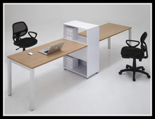 office system furniture with 2 person workstation and open shelving cabinet