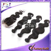 6A grade hot sale unprocessed cheap virgin hair 3pcs hair weft with a closure brazilian hair wholesale