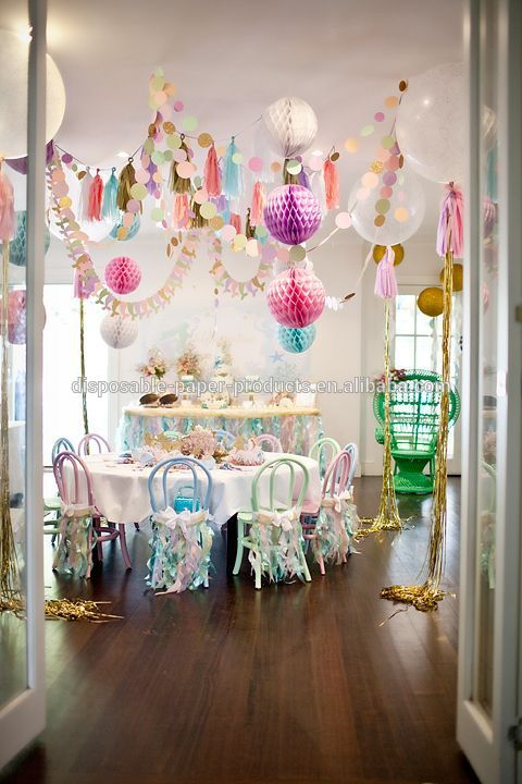 Sparkly mermaid party backdrop decor ideas tissue paper for Baby shower ceiling decoration ideas