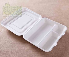 Sugarcane fiber biodegradable disposable take-out food container compartment