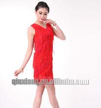 2014 chaude robe de danse latine populaire de danse latine à franges robe