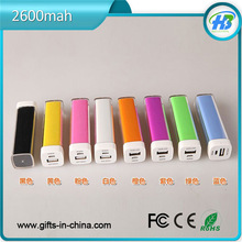Lipstick mobile power bank Mini usb charger 2600mAh general USB output power bank portable charger Multi Color,,battery terminal