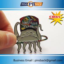 Custom soft enamel lapel pins with glitter ,2inch ,cutout lapel pins - soft enamel process