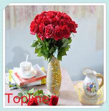 2014 Fashion beautiful high hand-feeling PU artificial flower rose factory