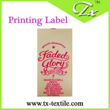 Garment printed label,label for industry with lowest price