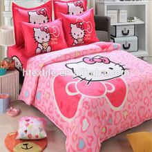 Good quality hello kitty home textile 100%cotton kids cartoon bedding set