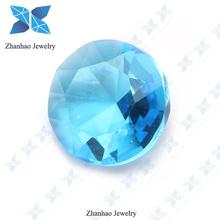 Synthetic rough aquamarine glass round stone