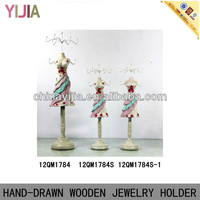 Fashionable Hand-drawn Rainbow Dress Wooden Mannequin Jewelry Holder Figurines