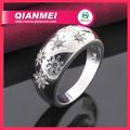 prata anel de banda com flores sol na moda zircão pedra cz anel banda beautiful unissex anel jóias