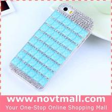 2015 high quality for iphone 6 6 plus rhinestone mobile covers, blue rhinestone phone case