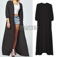 Women Sexy Long Fall 3/4 Sleeve Dress Girl's Black wholesale Kimono style Maxi plus size clothing SV005772