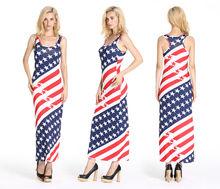 Women's Girl Casual US Flag Star Stripe Beach Dress Sleeveless Sundress
