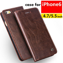 2014 QIALINO Ultra Slim Genuine cow Leather Case for iPhone 6 4.7inch Colorful Phone Flip Cover Bag For iphone 6