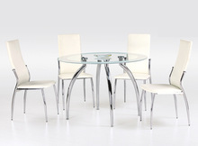 high quality round tempered glass dining table set