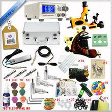 Complete Tattoo Kit 2 Machine Guns Set Equipment Power Supply 15 Inks TTKS032, whole Tattoo Kit 2 Machine Gun 50 Needles Power S