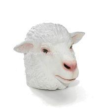 Adulto branco cordeiro animais Ram Fancy Dress látex de borracha Sheep cabeça máscara