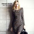 además de las mujeres ropa de estilo europeo 2014 otoño invierno de alta moda de la calle de manga larga de impresión elegante oficina 8069 vestidos