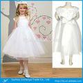 Chá- comprimento flor menina vestido de cetim branco com flor sash vestido de da menina flor