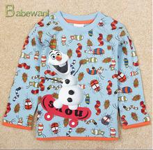 New Autumn boys cartoon Frozen olaf t-shirts kids long sleeve 3D printing t shirts children's leisure tees frozent-shirt printer