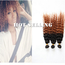 Fashion black women ombre curly hair, 1b#/30# two tone indian remy hair weaving