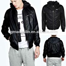 Wholesale Bike Leather Look Jacket With Jersey Hood Men wear 2015