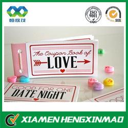 Elegant design custom printing coupon book in pink