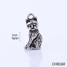 Alibaba Website China Supplier Halloween Jewelry Tibetan Silver Cat Halloween Charms Wholesale Charms and Pendants
