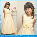 Bonito vestido menina de de tornozelo- comprimento um- linha em torno do pescoço zíper de volta com flor luz faixa amarela da flor menina vestido