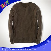 New model fashion blank men V-Neck long sleeve cotton t shirt from wholesale