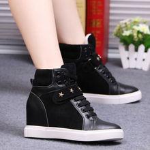 D24044Q 2014 new designs autumn/winter Korean fashion rivet women casual wedge sneakers