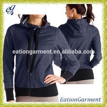 women's hooded full zip soft coated jacket cotton plain denim jacket
