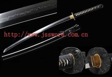Handmade Clay-tempered T10 Steel Choji Hamon Black Saya Japanese Samurai Sword Katana JK176BK
