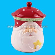 Papai noel rosto vermelho e branco cerâmica grés natal Cookie Jar