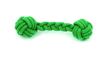 2014 New design manufacturer Pet squeaky green color cotton rope toy for dog chewing
