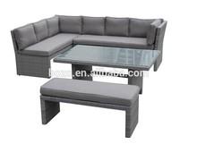 New wicker garden sofa, dining table, PE flat rattan outdoor furniture