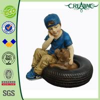 "14"" Ployresin Boy Garden Figurine for Home Decoration"