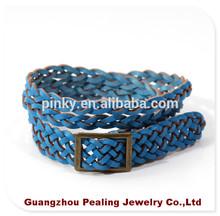 (BLS10142)Unisex Multi Thong Braided Blue Leather Bracelet Wristband Jewelry Items