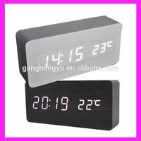 Clock end table,multi-function digital led desktop wooden clock