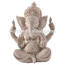 Lucky Sand stone Indian Elephant God Ganesha buddha statue for office home decoration 14375