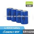 Baixa temperatura da bateria mah 1200 li-soci2 primária bateria de lítio er14250