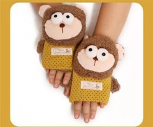 Ms. autumn and winter thick cotton gloves female winter lovely half full means that