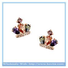 Wholesale 18k gold Mona Lisa AAA zircon royal queen crown shape stud earrings for women