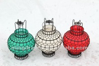 Chinese antique iron& paper white/green/red small round lantern lamp