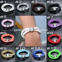 2014 Hot Sale Cheap Leather Shamballa Bracelets Magnetic Leather Bracelets